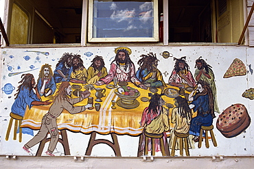 Last Supper, painted on a Rasta home, Bridgetown, Barbados, West Indies, Caribbean, Central America