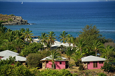 Aerial view over apartments of the Fischer's Cove Resort, near Spanish Town, Virgin Gorda, British Virgin Islands, West Indies, Caribbean, Central America