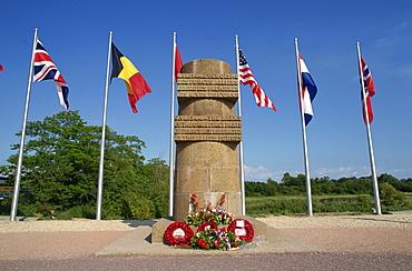 Memorial stele at Pegasus bridge, site of the first liberation, 6th June 1944, Normandy, France, Europe