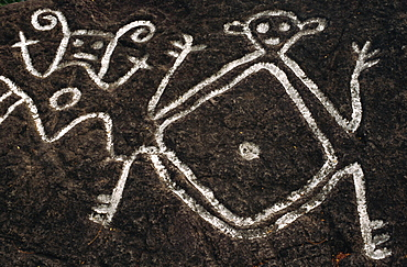 Petroglyphs carved by Caribs, Old Road Town, St. Kitts, Leeward Islands, West Indies, Caribbean, Central America