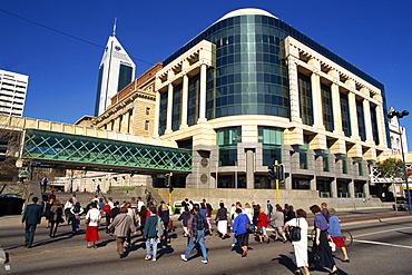 Commuters walking through Forrest Place in Perth, Western Australia, Australia, Pacific