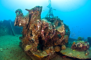 Gear on the deck of the wreck of the Lesleen M, a freighter sunk as an artificial reef in 1985 off Anse Cochon Bay, St. Lucia, West Indies, Caribbean, Central America