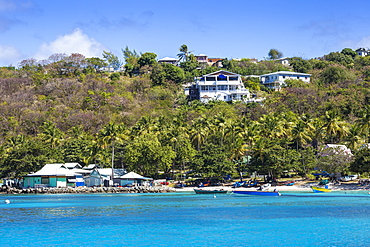 View of Lovell village, Mustique, The Grenadines, St. Vincent and The Grenadines, West Indies, Caribbean, Central America