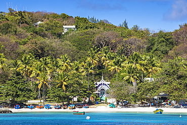 View of The Pink House, Mustique, The Grenadines, St. Vincent and The Grenadines, West Indies, Caribbean, Central America