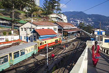 The Himalayan Queen toy train at Shimla railway station, terminus of the Kalka to Shimla Railway, UNESCO World Heritage Site, Shimla (Simla), Himachal Pradesh, India, Asia