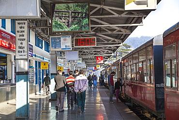 The Himalayan Queen toy train at Shimla railway station, at the end of the Kalka to Shimla Railway, UNESCO World Heritage Site, Shimla (Simla), Himachal Pradesh, India, Asia