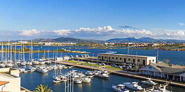 View of Yacht Club, Olbia, Sardinia, Italy, Mediterranean, Europe