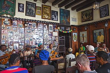 Trova musicians at Casa de La Trova (traditional poetic singing and songwriting house), Historical Centre, Santiago de Cuba, Santiago de Cuba Province, Cuba, West Indies, Caribbean, Central America