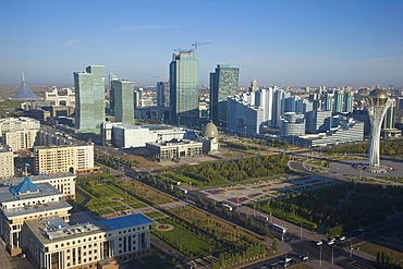 View of city center looking towards Nurzhol bulvar, central boulevard of the new governmental and administrative zone and the Bayterek Tower, with the Khan Shatyr shopping and entertainment center on the left, Astana, Kazakhstan, Central Asia, Asia