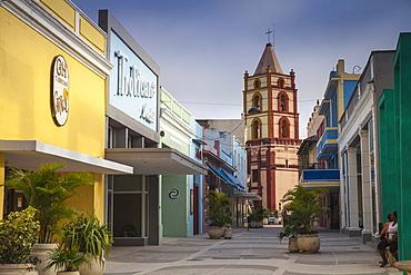 Pedestrian street leading to Iglesia De Nuestra Senora de la Soledad, Camaguey, Camaguey Province, Cuba, West Indies, Caribbean, Central America