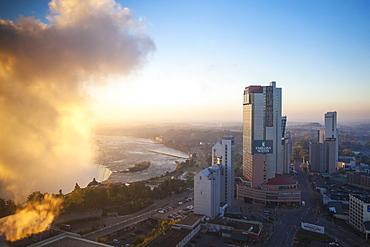 View of Hotels and Horseshoe Falls, Niagara Falls, Niagara, Ontario, Canada, North America