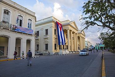 Cuban flag hanging from Palacio Provincial after the death of Fidel Castro, Parque Vidal, Santa Clara, Cuba, West Indies, Caribbean, Central America