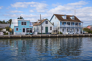 Houses on Bay Street, New Plymouth, Green Turtle Cay, Abaco Islands, Bahamas, West Indies, Central America