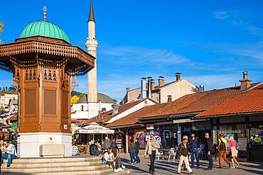 Bosnia and Herzegovina, Sarajevo, Bascarsija - The Old Quarter, Bascarsija Square, The Sebilj, an Ottoman-style wooden fountain