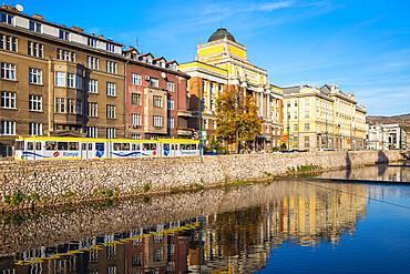 Bosnia and Herzegovina, Sarajevo, Buildings of Bascarsija - The Old Quarter, on the banks of the Miljacka River