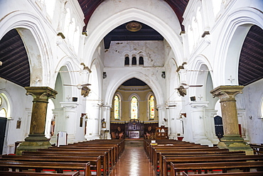 All Saints Anglican Church interior, Old Town of Galle, UNESCO World Heritage Site on the South Coast of Sri Lanka, Asia
