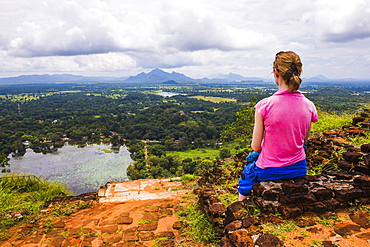 Sigiriya Rock, tourist enjoying the view over the Sri Lankan landscape, Sri Lanka, Asia
