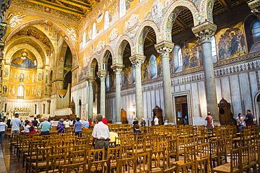 Interior of Monreale Cathedral (Duomo di Monreale) at Monreale, near Palermo, Sicily, Italy, Europe