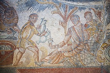 Mosaic at Villa Romana del Tellaro near Noto in South East Sicily, Italy, Europe
