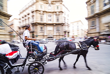 Horse and cart at Quattro Canti (Piazza Vigliena) (The Four Corners), a Baroque square in Palermo, Sicily, Italy, Europe