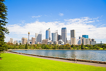 Sydney city centre and central business district (CBD) from Sydney Royal Botanic Gardens, Sydney, New South Wales, Australia, Pacific