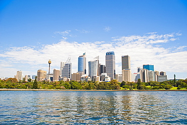 Sydney city centre and central business district (CBD) from Sydney Botanic Gardens, Sydney, New South Wales, Australia, Pacific