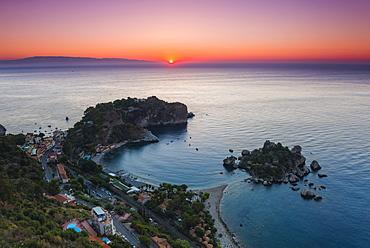 Isola Bella Beach and Isola Bella Island at sunrise, Taormina, Sicily, Italy, Mediterranean, Europe