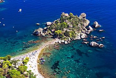 Tourists on Isola Bella Beach, Taormina, Sicily, Italy, Mediterranean, Europe