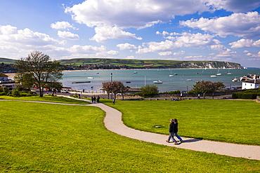 Swanage park, the start of the coastal walk, Dorset, England, United Kingdom, Europe