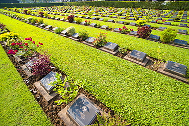 Lines of hundreds of graves at Kanchanaburi War Cemetery, Thailand, Southeast Asia, Asia