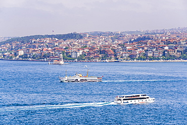 Asian side of Istanbul across the Bosphorus Strait seen from The Topkapi Palace, Istanbul, Turkey, Europe