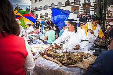 Pork food stall, Saturday Market, Cusco, Cusco Region, Peru, South America