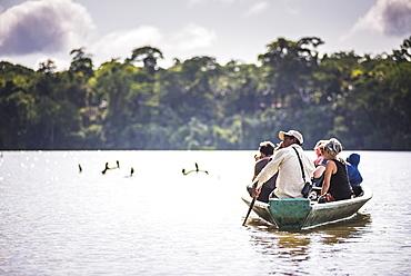 Canoe boat trip in Amazon Jungle of Peru, by Sandoval Lake in Tambopata National Reserve, Peru, South America