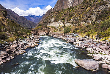 Urubamba River at the start of the Inca Trail, Cusco Region, Peru, South America