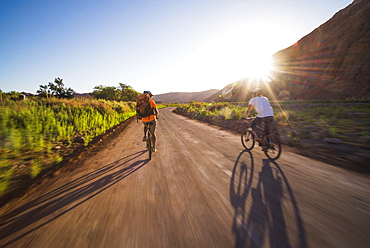 Cycling at sunset in the Katarpe Valley, Atacama Desert, North Chile, Chile, South America