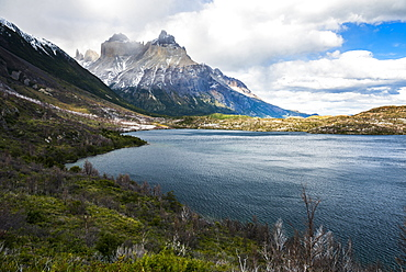 Scottsburg Lake with Cordillera Paine (Paine Massif) behind, Torres del Paine National Park, Patagonia, Chile, South America