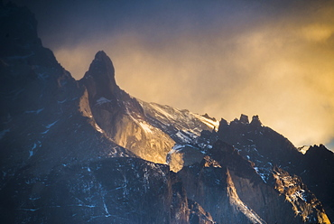 Sunrise Paine Massif (Cordillera Paine), the iconic mountains in Torres del Paine National Park, Patagonia, Chile, South America