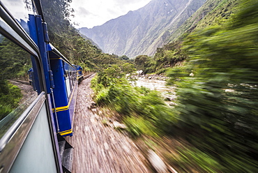 Train between Aguas Calientes, the stop for Machu Picchu, and Ollantaytambo, Cusco Region, Peru, South America