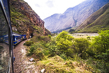 Train between Aguas Calientes (Machu Picchu stop) and Ollantaytambo, Cusco Region, Peru, South America