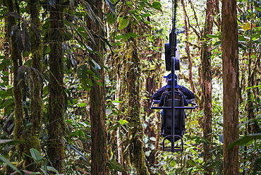 Mashpi Lodge Sky Bike in the Choco Rainforest, an area of Cloud Forest in the Pichincha Province of Ecuador, South America