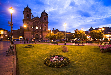 Cusco Cathedral Basilica of the Assumption of the Virgin at night, Plaza de Armas, UNESCO World Heritage Site, Cusco (Cuzco), Cusco Region, Peru, South America