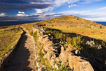Amantani Islands (Isla Amantani) seen from Pachamama (Mother Earth) summit, Lake Titicaca, Peru, South America