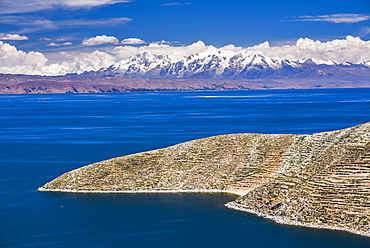 Cordillera Real Mountain Range, part of Andes Mountains, seen from Isla del Sol (Island of the Sun), Lake Titicaca, Bolivia, South America