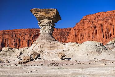 The Mushroom rock formation by Los Coloradas red rock wall, Valley of the Moon (Valle de la Luna), Ischigualasto Provincial Park, San Juan Province, North Argentina, South America