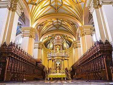 Basilica Cathedral of Lima interior, Plaza de Armas (Plaza Mayor), Lima, Lima Province, Peru, South America