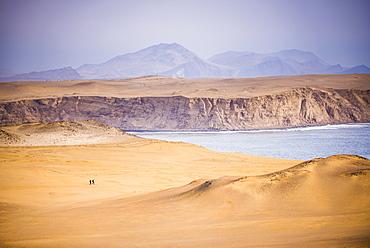 Hikers hiking in desert and sand dunes, Paracas National Reserve (Reserva Nacional de Paracas), Ica, Peru, South America
