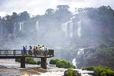 Iguazu Falls (Iguacu Falls) (Cataratas del Iguazu), UNESCO World Heritage Site, Brazil side viewing platform, border of Brazil Argentina and Paraguay, South America