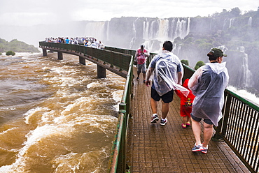 Iguazu Falls (Iguacu Falls) (Cataratas del Iguazu), UNESCO World Heritage Site, viewing platform on Brazil side, border of Brazil Argentina Paraguay, South America