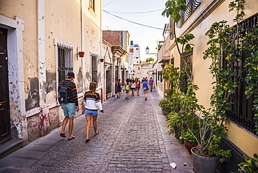 Backpackers on free walking tour of Arequipa, Peru, South America