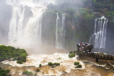 Iguazu Falls, Brazil side, UNESCO World Heritage Site, viewing platform for Devils Throat, border of Brazil Argentina and Paraguay, South America